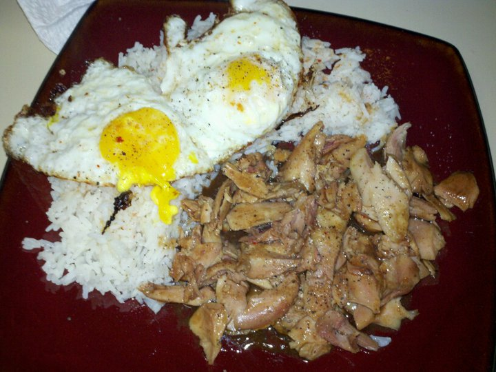 Spicy hoisin chicken with fried eggs