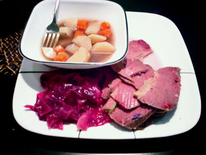 Corned beef, cabbage, potatoes and carrots