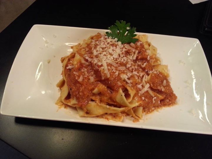 Tagliatelle with Parmesan Garlic Roasted Tomato Sauce