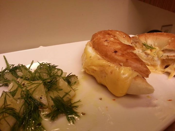 Bagel with Perfect Melting Cheese and Dill Salad